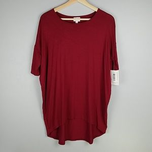 Lularoe Irma Solid Dark Red High/Low Tunic Tee Top